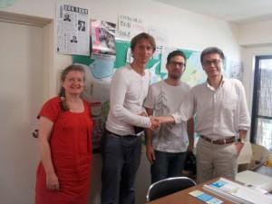 7月16日午前、スウェーデンのドキュメンタリーチームと。赤坂事務所にて。